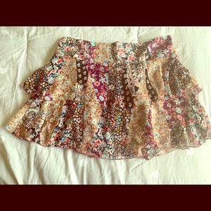 Bebe Floral Print Mini Skirt